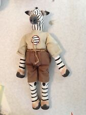 Original handmade sewn painted Zebra Doll in Safari Outfit Rare Well Done