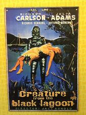 VINTAGE EMBOSSED HORROR MOVIE THEATER CREATURE FROM THE BLACK LAGOON METAL SIGN