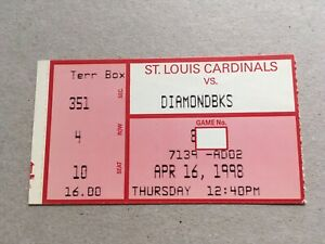 Matt Williams 2 HR Home Run 1998 4/16/98 Cardinals Diamondbacks Ticket Stub DH