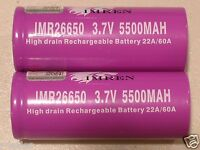 2 IMREN IMR 26650 HIGH DRAIN 60A BATTERY 3.7v Rechargeable Li-MN 5500mAh w/CASE