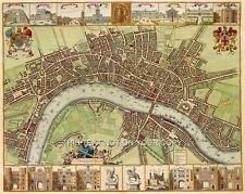 Grand plan détaillé ancienne couleur Carte Ville De Londres Poster Street & Repères Neuf