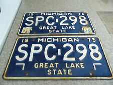 Vintage 1973 Michigan License Plates - SPC-298