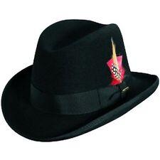 SCALA * BLACK WOOL HOMBURG HAT * XXL * NEW MEN DRESS SUIT LINED FEDORA GODFATHER