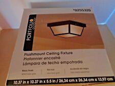Portfolio Exterior Outdoor Flush Mount Ceiling 1 Light Fixture Black 0255320 New