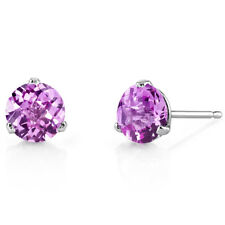 14K 14ct White Gold 1.6 Ct Lab Pink Sapphire Stud Earrings Martini 3 Prong Round