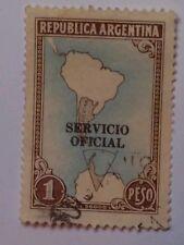ARGENTINA SCOTT 446-1937 1 PESO-SERVICIO OFICIAL OVER PRINT-BROWN/ BLACK/ BLUE
