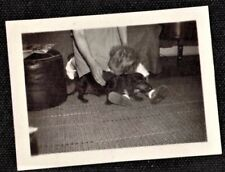 Tiny Antique Vintage Photograph Little Baby Holding Adorable Dachshund Puppy Dog