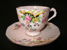 CUP SAUCER TUSCAN ALL PINK LATTICE & CASCADE OF ROSES & MULTIPLE COLOR FLOWERS