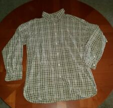 Men's Abercrombie & Fitch Button Front Long Sleeve Shirt Small Blue Tan Plaid
