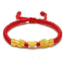 New 999 24K Yellow Gold Bracelet Woman's 3D Lucky Pixiu Link Ingot / Adjustable