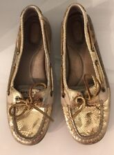 Sperry Top-Sider Boat Shoes Women's 10M Gold Leather 9102609 Faux Snake Skin