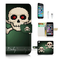 ( For iPhone 7 ) Wallet Case Cover P2728 Skull