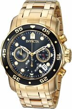 Invicta Mens Pro Diver Quartz Watch W/ Gold-Tone-Stainless-Steel Strap, 0.9