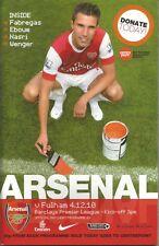 Football Programme - Arsenal v Fulham - Premiership - 4/12/2010