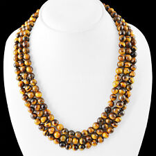 """Excellent Natural 3 Strand 6/8mm Golden Tiger Eye Round Beads Necklace 17-19"""""""