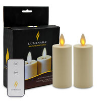Luminara Moving Wick Flameless Led Votive Candles with Remote Set of 2 for Home