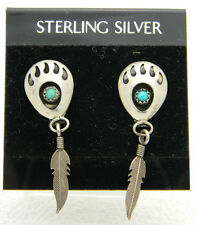 New Old Stock Sterling Silver Turquoise Southwestern Feather Paw Print Earrings
