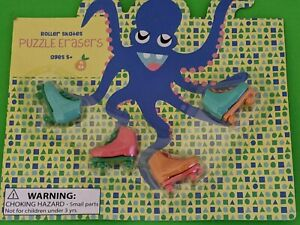 Roller Skate Puzzle Erasers 4 New