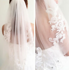 Women Pure white Bride Wedding Wedding Embroidery lace Hair head Veil WITH COMB