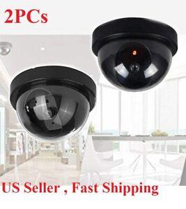 2pcs Dummy Camera Fake Security CCTV Dome Camera with Flashing Red LED Light
