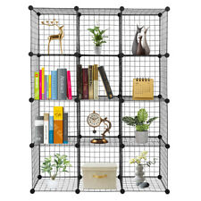 12-Cube Organizer Storage Shelves Wire Metal Grid Rack Cabinet Cubbies Bookcase