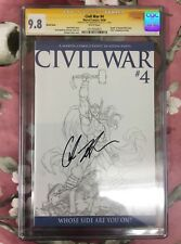 Civil War #4 CGC 9.8 SS Sketch Cover Auto / Signed By Chris Hemsworth (Thor)