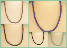 """Set of 5 22"""" Blue Colors Twisted Rope Chain Handmade Seed Bead Necklace"""