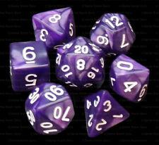 New 7 Piece Polyhedral Dice Set - Druids Aura Purple Marble - Purple Dice Bag