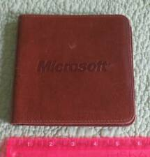Vtg 1990s Leather MICROSOFT Carrying CD-ROM Case WALLET Computer Memorabilia