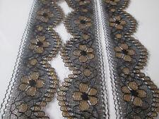 5 Meter Spitze  Schwarz gold 3,5 cm  breit Borte 25