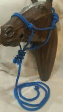 New! Braided Nylon Rope Halter w/7' Lead-Western, English Horse Tack~Royal Blue