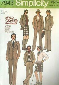 1970's VTG Simplicity  Men's Pants, Shorts, Jacket Pattern 7943 Size 44 UNCUT
