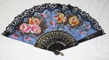 Fan Black Plastic & Lace Blue Fabric Floral Roses Goldtone Decoration