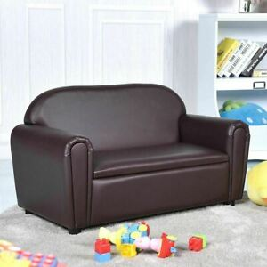 Gymax Kids Sofa Armrest Chair Lounge Couch Wood Construction Storage Box Living