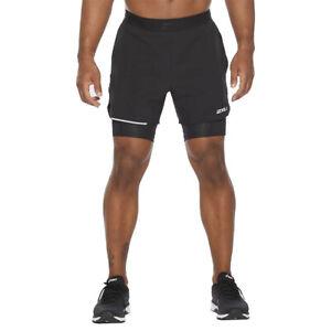 2XU XVENT 2-in-1 Men's 5 Inch Running Short, Black
