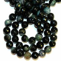 GR1911L Green & Crystal 12mm Faceted Round Agate & Quartz Gemstone Beads 15""