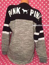 Victoria's Secret Pink Lace-Up Varsity Crew Sweater Black & Grey Small NEW