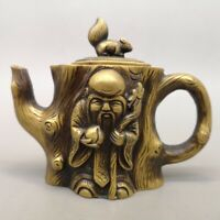 "5"" Chinese old antique brass Qing mark Longevity star Hand holding Teapot"