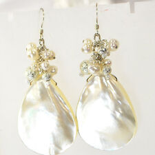 Natural White Pearl & Mother Of Pearl Teardrop Sterling Silver Earring (ER233)a