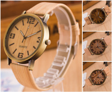Mens Natural Wood Wooden Effect Bronze Alloy 40mm Quartz Watch PU Leather Strap