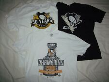 Lot of 3 Pittsburgh Penguins T shirts 50 Years, Promo, Stanley Cup 2016 L Large