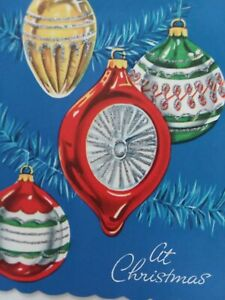 1950s Vtg Fancy SILVERED Glitter CHRISTMAS Ornaments GREETING CARD