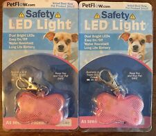 Two Petflow.com Pink Led Safety Lights - New! Dog Or Cat Collar Tags Dangle