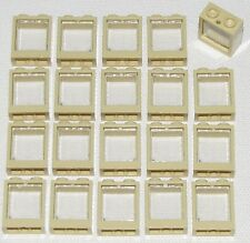 LEGO LOT OF 20 NEW TAN 1 X 2 X 2 FLAT FRONT WINDOWS HOUSE TOWN CITY GLASS PARTS