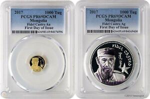 """2017 Mongolia Fidel Castro .999 Gold & Silver 2 Coin Proof Set PCGSPR69  """"Rare"""""""