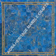 "15"" Marble Coffee Corner Table Top Lapis Lazuli Inlay Random Living Decor H5152A"