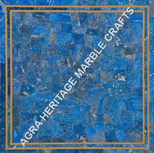 "18"" Random Lapis Lazuli Inlaid Marble Kitchen Side Table Top Garden Decor H5152B"