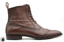 Handmade Men's Genuine Brown Leather Wingtip Oxford Lace up Boots