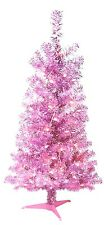 "48"" Pink Tinsel Christmas Tree w/50 Extra Bright Clear Lights & 160 Branch Tips"