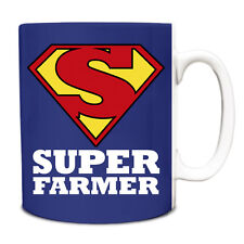 Royal Blue SUPER Farmer hero novelty job title mug funny 080